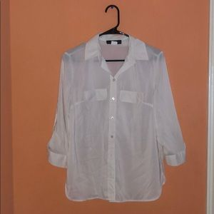 FRED DAVID white button up blouse